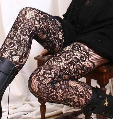 French Floral Lace Crochet Pattern Mid-Thigh Pantyhose Hosiery Tights