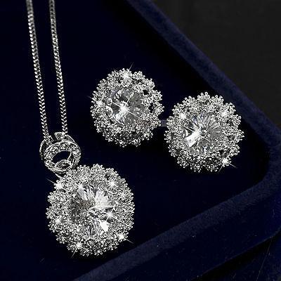 18k gold gf made with swarovski crystal necklace stud earrings wedding set