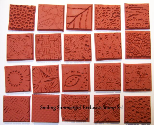 Grab Bag 20 Deep Etched Texture Rubber Art Stamp Designs 4 Paper Clay Fabric