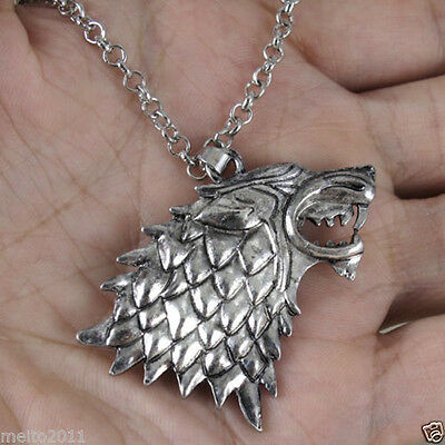 Game of Thrones Stark Direwolf Vintage Silver Pendant Inspired Necklace Fashion