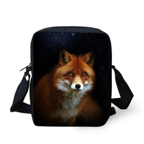 Small Shoulder Messenger Bag Animal Fox Print Kids Sling Purse Satchel Handbag