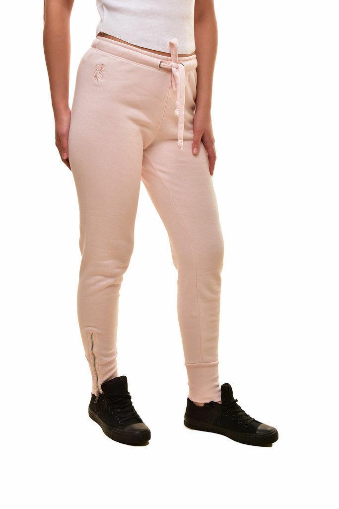 Wildfox Women's Jogger Fame Zip Trim Solid Sweatpants Skinny Leg in Pink Sz. S