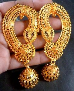 dc5dacc21 22K Gold Plated Indian Full Earrings With Jhumka Wedding Gorgeous ...