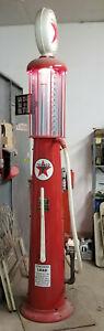 Restored-Antique-Wayne-Visible-Gas-Station-Pump-1920s-10-039-Tall-Blue-gas-Cylinder