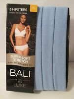 Bali By Hanes Size 7 L Blue Hipsters Soft Stretch Luxe Underwear Panties