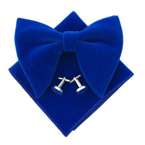 Hommes Velours Surdimensionné Pre-Tied Bow Tie Poche Carré Boutons de manchette Set bowtie lot