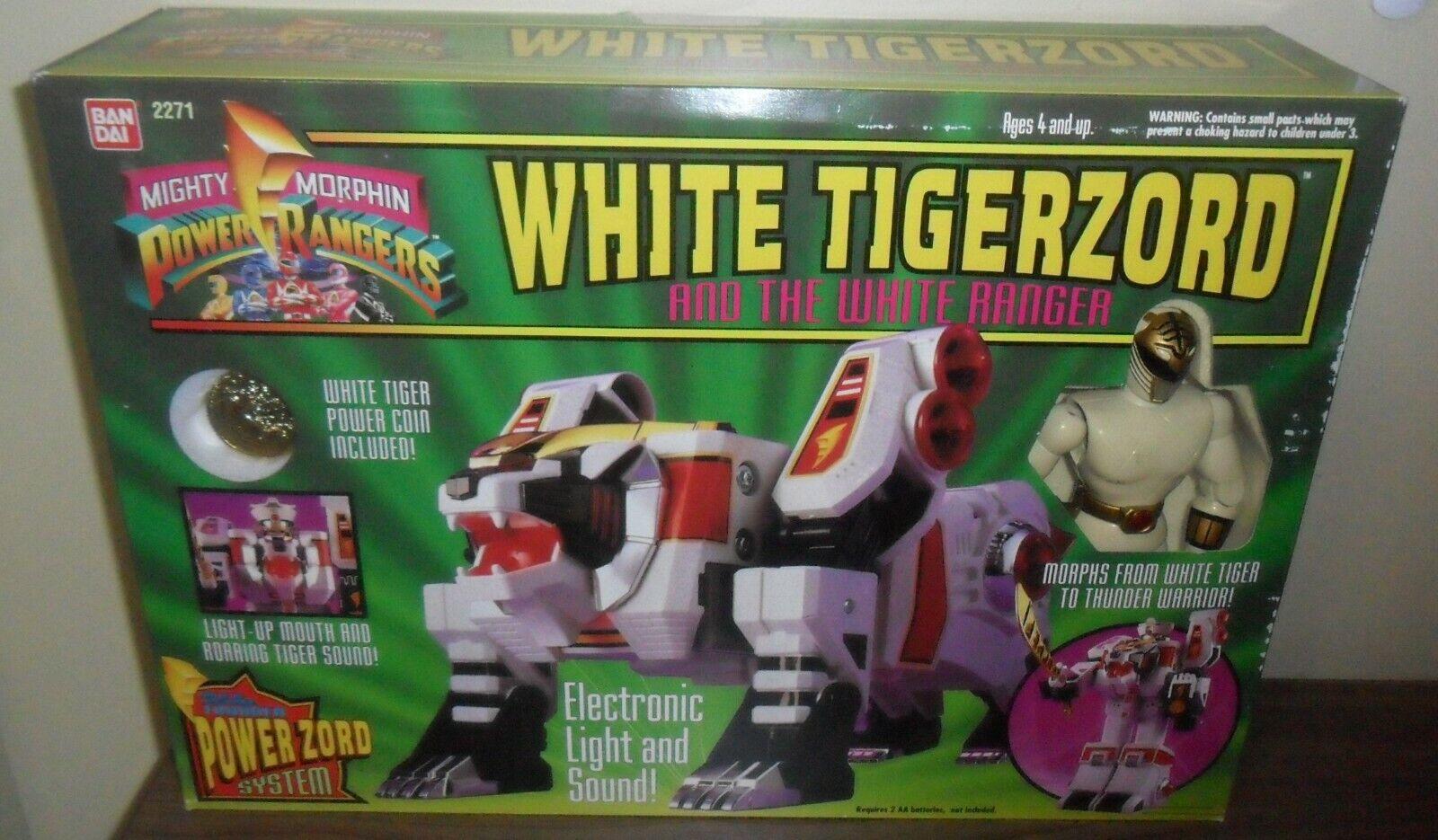 1994 Mighty Morphin energia Rangers bianca Tigerzord  Ranger .. nuovo in Open scatola