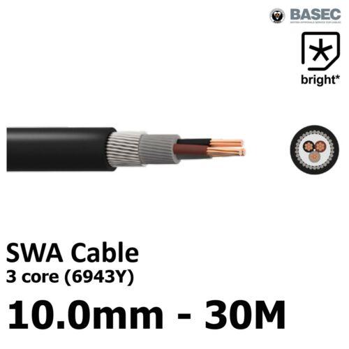 30M 10 mm² 6943X 3 Core SWA Alambre de Acero Cable armado basec Exterior al Aire Libre