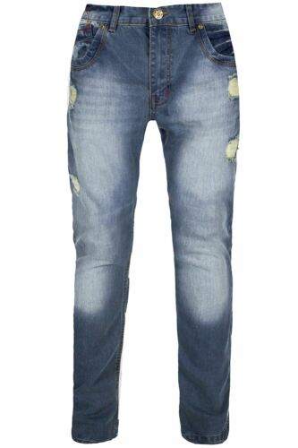 Mens Denim Jeans Skinny Fit Straight Leg Ripped Trousers Faded Distressed Pants