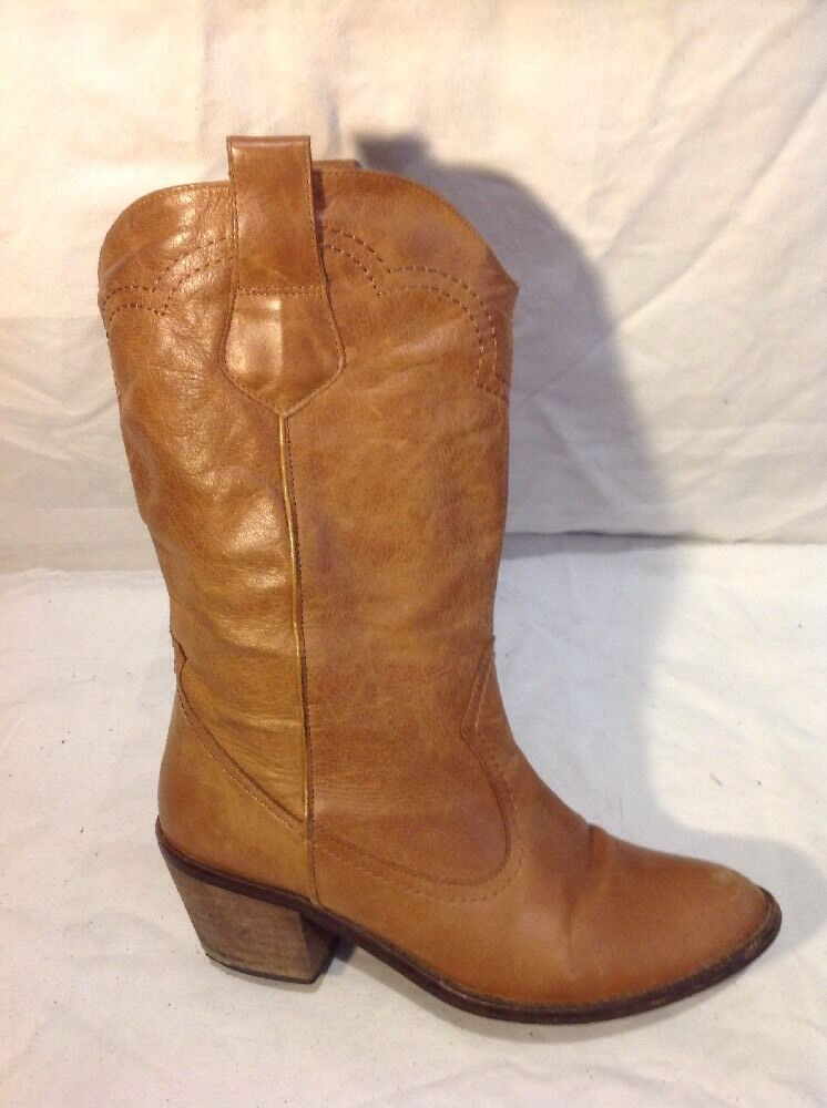 Zara Brown Mid Calf Leather Boots Size 38
