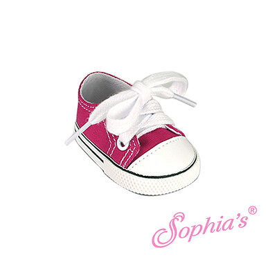 """HOT PINK Low Top Sneaker Canvas fit American Girl 18"""" doll shoes sneakers lo"""