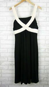 Diana-Ferrari-A-Line-Dress-Evening-Black-White-Trim-Sz-12
