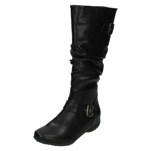 R41A Ladies Down To Earth F4R386 Black Zip Up Rouched Long Knee Boots Jen