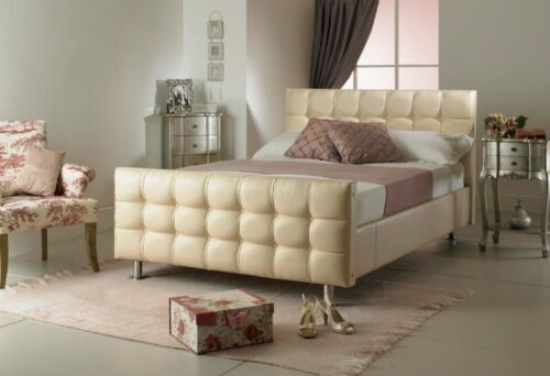 Single White Diamante Crystal Faux Leather Bed 3FT 4FT 4FT6 5FT FREE Delivery