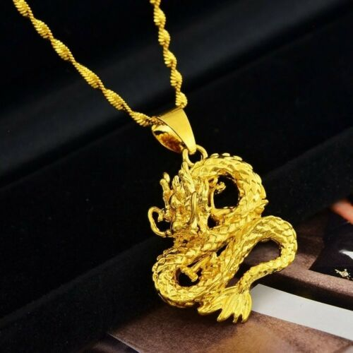 "Link 20/"" 24/"" 30/"" Chain Necklace D559N 24k Yellow Gold Authentic Dragon Pendant"