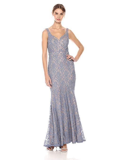 Betsy and Adam Long Dress Glitter Lace Sweetheart Formal Dress Size 6 NWT