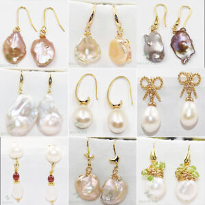 AAA-16-28mm-South-Sea-White-Baroque-Pearl-Earrings-14K-YELLOW-GOLD-Natural-Real