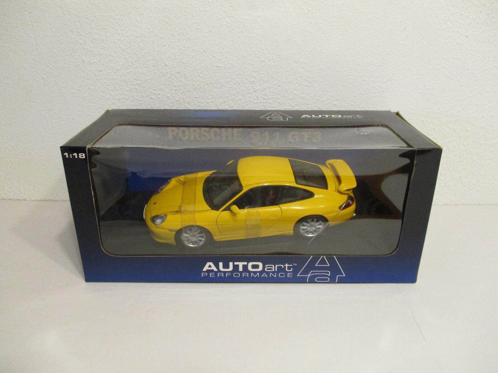 (gok) 1 18 autoart porsche 911 gt 3 street car yellowneu EMB. orig
