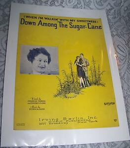 Vintage-Old-Paper-Sheet-Music-1929-DOWN-AMONG-THE-SUGAR-CANE-Peter-De-Rose