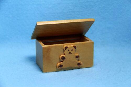 Dollhouse Miniature Wooden Teddy Bear Toy Box ~ T 6465