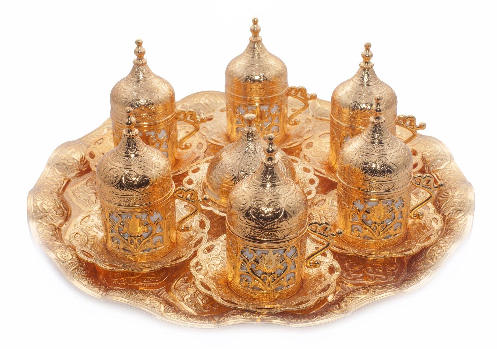 Caffè turco Set Tazze Delight BOWL PORCELLANA VASSOIO Ottomano oro laccato