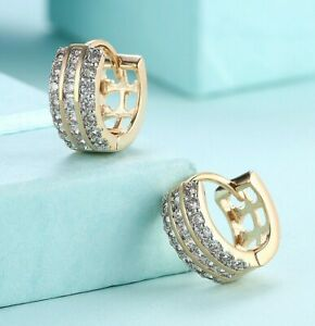 18K-GOLD-PLATED-ROUND-HUGGIE-HOOPS-WITH-SWAROVSKI-CRYSTAL-EARRINGS-ITALY