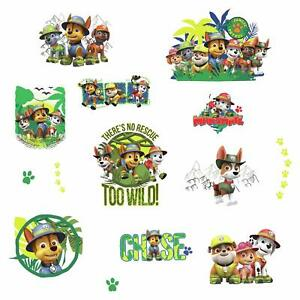 Image is loading PAW-PATROL-JUNGLE-Wall-Decals-Dogs-Puppies-Room-  sc 1 st  eBay & PAW PATROL JUNGLE Wall Decals Dogs Puppies Room Decor Stickers CHASE ...