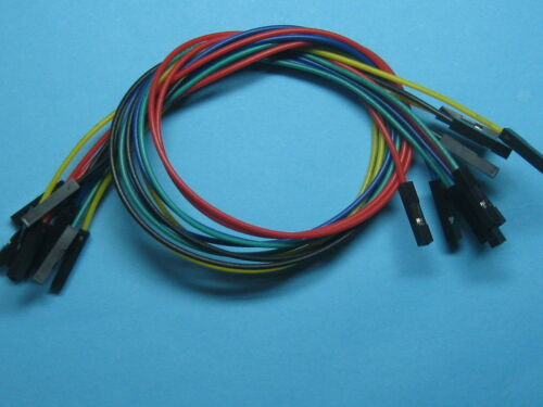 20 pcs Pitch 2.54mm 1 Pin 26AWG Jumper wire Female to Female 5 color 30cm Cable