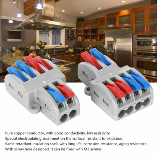 5Pcs 2 in 4 out Spring Lever Terminal Blocks Electric Wire Cable Connectors