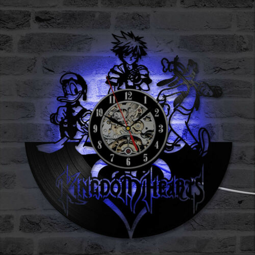 Kingdom Hearts Vinyl Wall Clock LED Backlight 3D Wall Clock Night Light Lamp