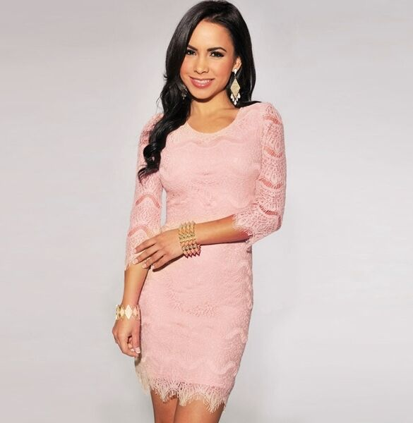 Dress Minidress Dress Gown Sheath Dress Woman Pink Pink Beige Long Sleeve 3277
