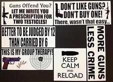 Gun Sticker 6 PACK Bumper Window Decal 2nd Amendment Guns Offend Don't Like Guns