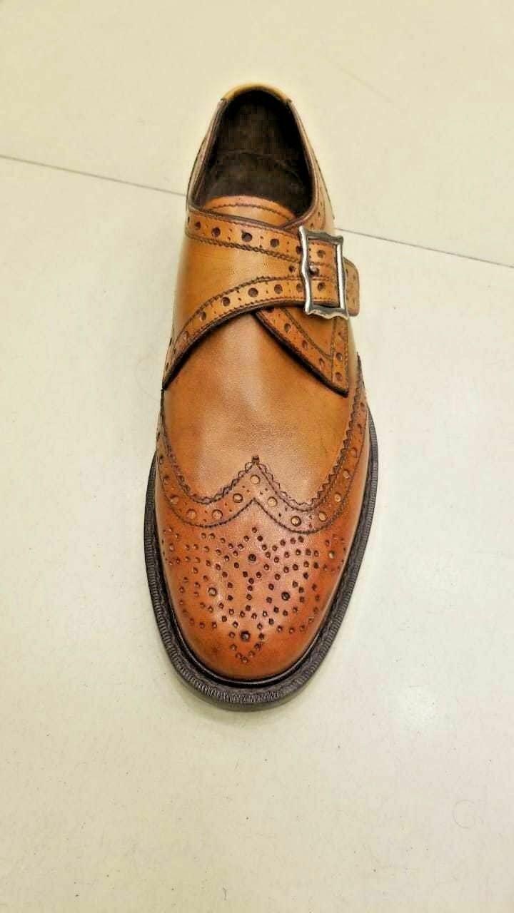 Hecho a mano para hombres Cuero Genuino Tan Zapatos Oxford Brogue único Monje Hebilla