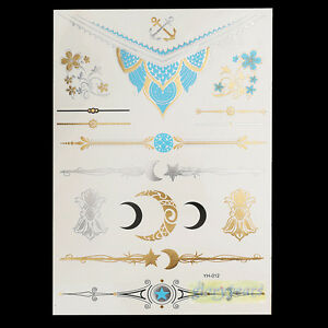 Gold Blue Moon Star Flower Anchor Temporary Tattoos Bracelets