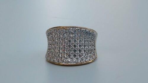 Diamonique gras Concave Band Ring 14k Clad