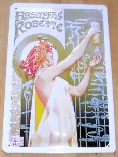 ABSINTH ROBETTE BLECHSCHILD 20 x 30 cm ABSINTHE LIKÖR Jugendstil