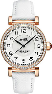 Coach-14502401-Madison-White-Dial-Leather-Strap-Women-039-s-Watch
