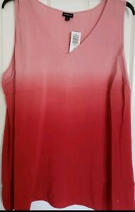 Size-3-3X-Torrid-Top-Tank-Ombre-Red-Pink-Sleeveless-Plus-Women-s-Rayon-NWT