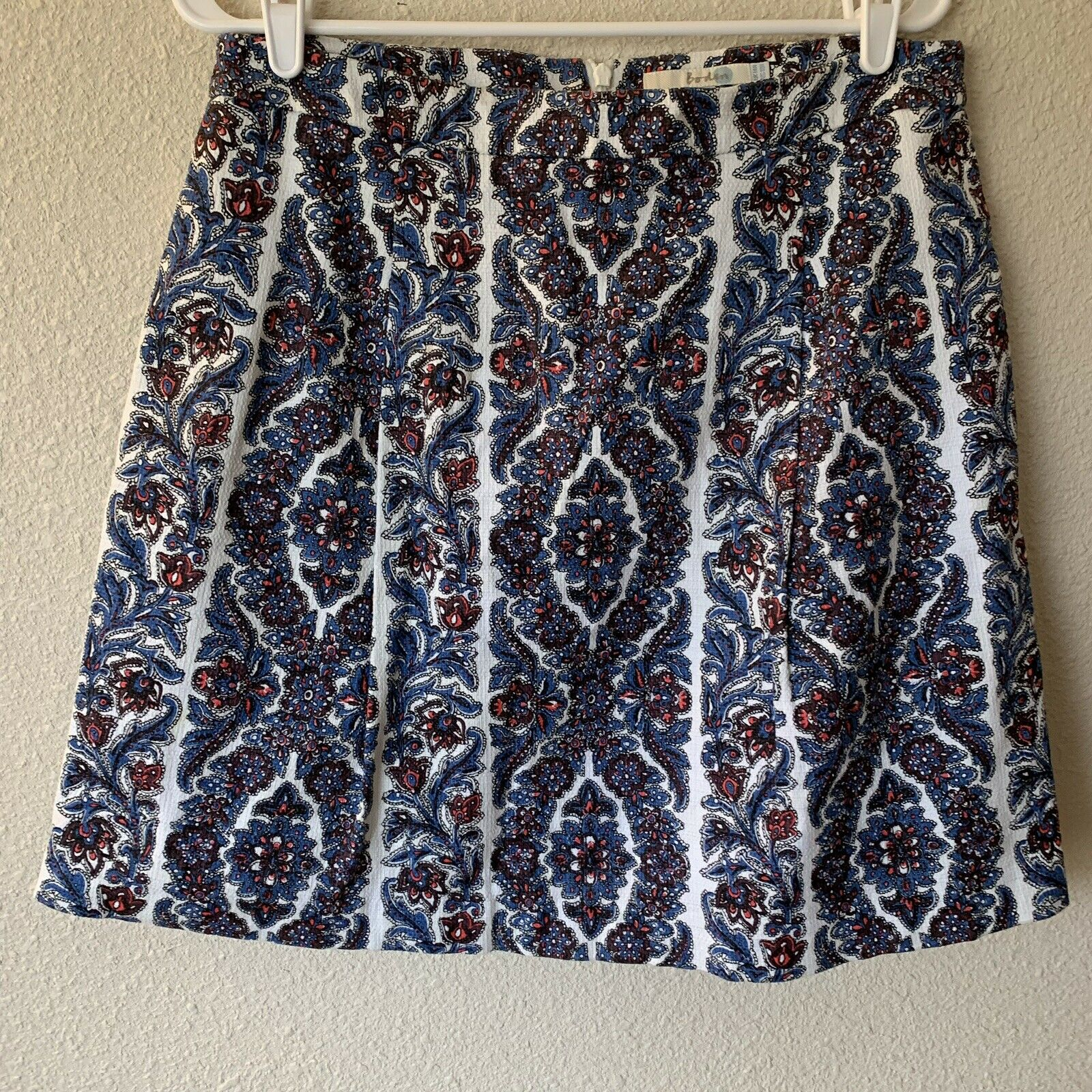 Boden Women's Skirt A-line Paisley Pleated Knee Length Size US10R UK14R