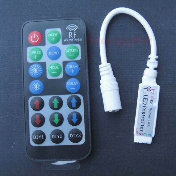 RF Wireless Remote Controller DC Plug to 4Pin For RGB 3528 5050 LED Strip Lights