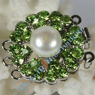 Finding Gold Plated Green Crystal & Shell Pearl Clasp