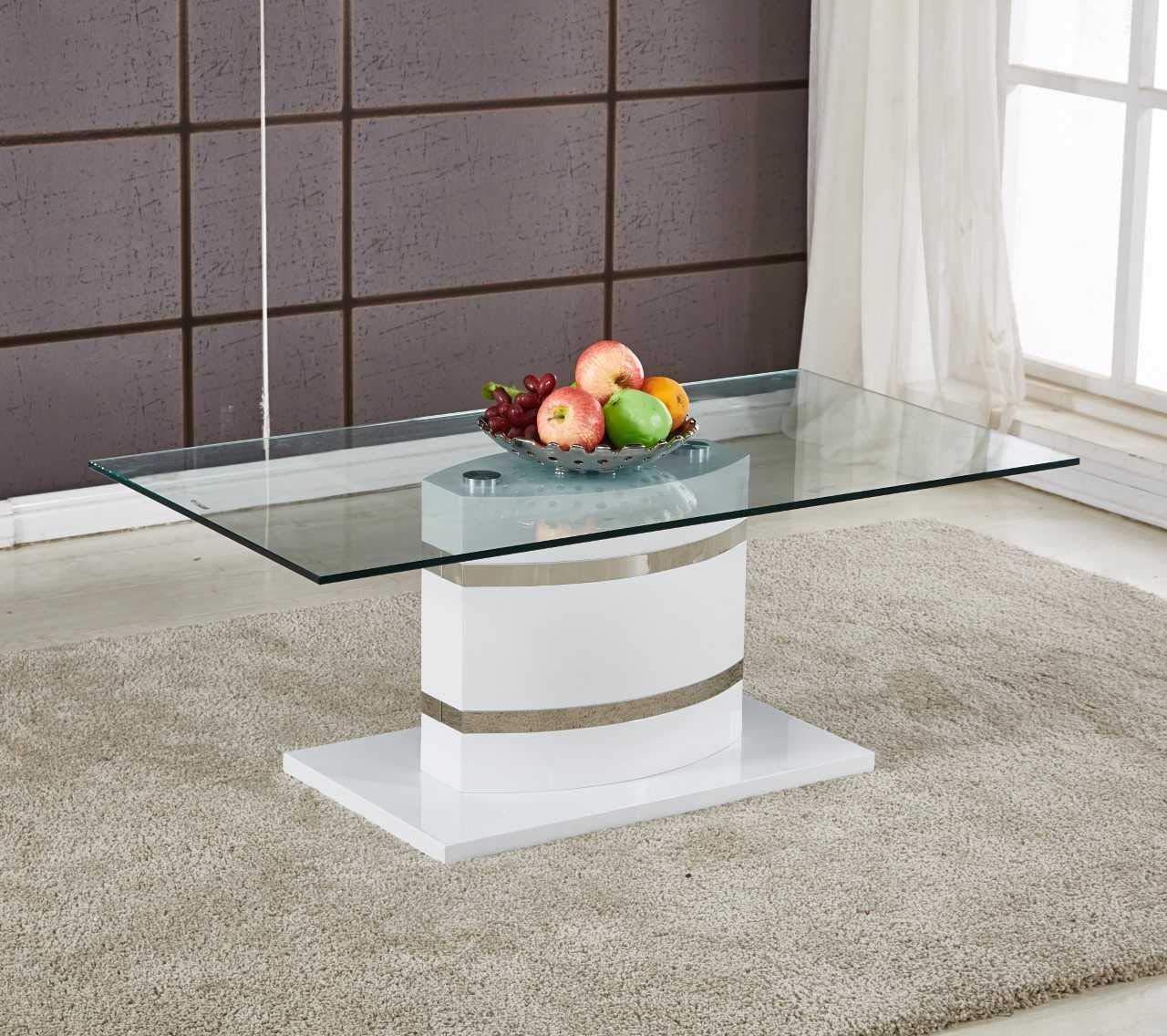 PORTLAND Large White High Gloss and Chrome Glass Living Room Coffee Table