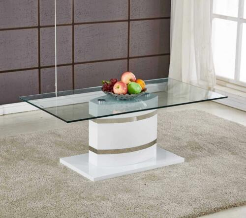 PORTLAND Large White High Gloss and Chrome Glass Living Room Coffee Table