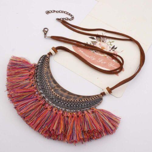 Fashion Women Bohemia Long Tassel Pendant Choker Bib Necklace Chain Jewelry