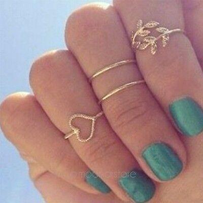 4Pcs Bagues Bout Doigt Anneau Midi Above Ring Knuckle Plaqué Doré Bijoux Sets