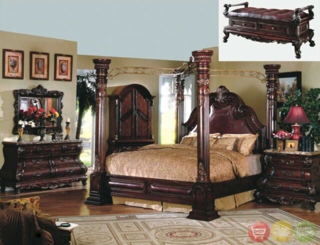 King Traditional Cherry Poster Canopy Leather Bed 6pc Luxury