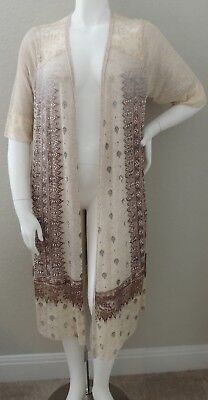 Vocal Long Open Cardigan Duster Sweater w// Lace /& Stones Plus 1XL 2XL 3XL New!