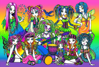 Rainbow Fairy Celebration Candy Music Festival Hippie Signed Myka Jelina Print