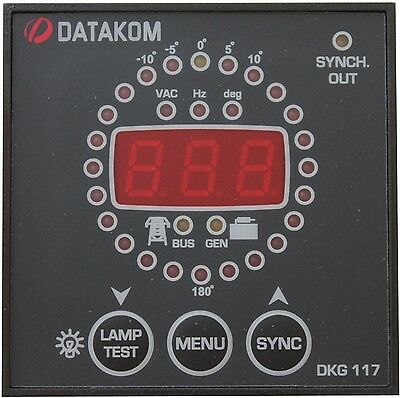 DATAKOM DKG-117, 72x72mm synchroscope y cheque generador panel de control del re