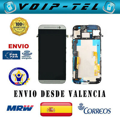 PANTALLA COMPLETA PARA HTC ONE M8 LCD DISPLAY TACTIL CON MARCO PLATA BLANCO